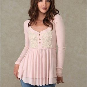 Free People NWT Blush Level Heart Baby Doll Henley